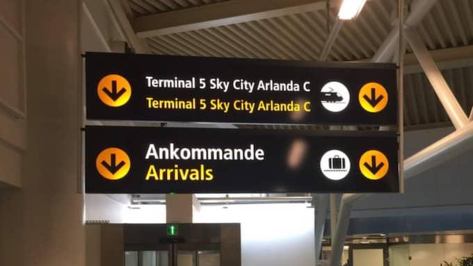 Mannen upptäcktes av tullpersonal på söndagskvällen, strax efter att han landat på flygplatsen. Foto: Tomas LePrince