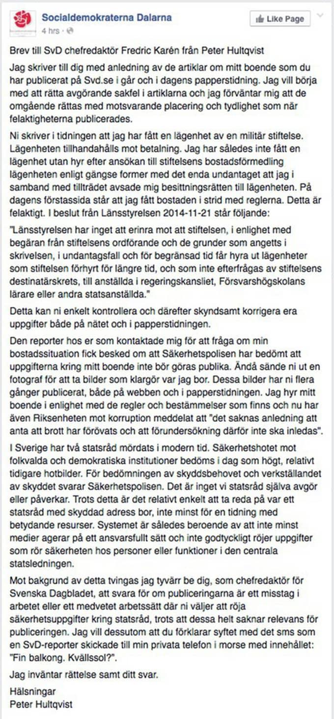 I ett brev till Svenska Dagbladet. Foto: Från socialdemokraterna Dalarnas