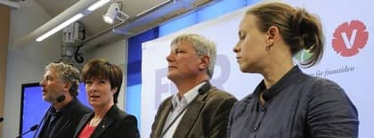 De rödgröna: Peter Eriksson, Mona Sahlin, Lars Ohly och Maria Wetterstrand. Foto: Anders Wiklund / Scanpix
