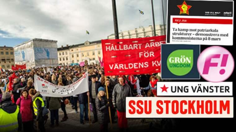 SSU Stockholm, Ung Vänster, Grön Ungdom och Feminstiskt Inititativ är några av de organisationer som arrangerar demonstrationen tillsammans med Revolutionär Kommunistisk Ungdom. Demonstrationen på bilden har ingenting med texten att göra.