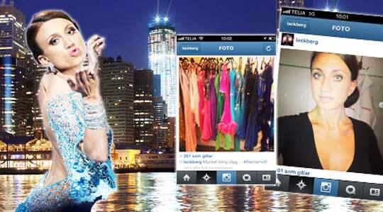 Till höger i bild är två av Camilla Läckbergs inlägg från Instagram. Den ena är ett självporträtt på Läckberg i stram frisyr och den andra är en bild på flera färgglada, glittrande klänningar.