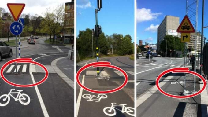 """FAROR FÖR CYKLISTERNA. """"Cykelolyckorna beror också på uppställda föremål på cykelbanorna och i cykelfälten"""", skriver Krister Isaksson. Foto: Privat och Luca Mara"""