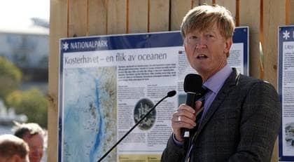 Miljöminister Andreas Carlgren under invigningen av Kosterhavets Nationalpark. Det är Sveriges mest artrika havsmiljö och här finns också Sveriges enda korallrev. Foto: Lennart Rehnman