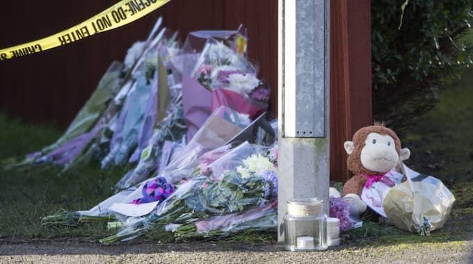 Många har lämnat blommor på platsen där Katie Rough mördades. Foto: Mccaren/Lnp/Rex/Shutterstock / MCCAREN/LNP/REX/SHUTTERSTOCK REX FEATURES