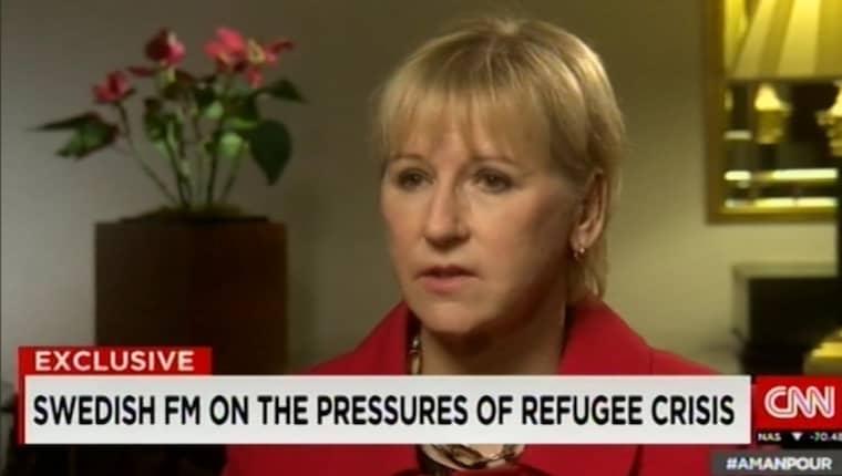 Margot Wallström intervjuas i CNN Foto: CNN