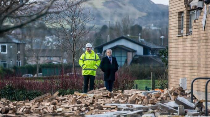 En skola i Edinburgh fick stänga på grund av omfattade skador. Foto: Deadline News/Rex/Shutterstock