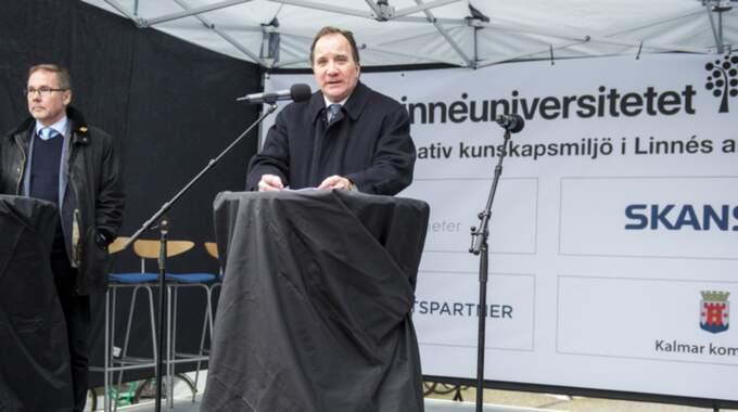 Stefan Löfven höll tal vid byggstarten av Linnéuniversitetets nya byggnader. Foto: Suvad Mrkonjic