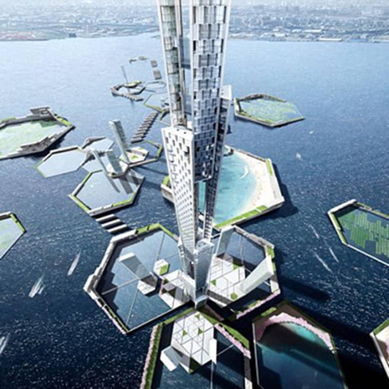 """Den nya staden, """"Nästa Tokyo"""", ska stå klar 2045 Foto: Kpf Architects"""