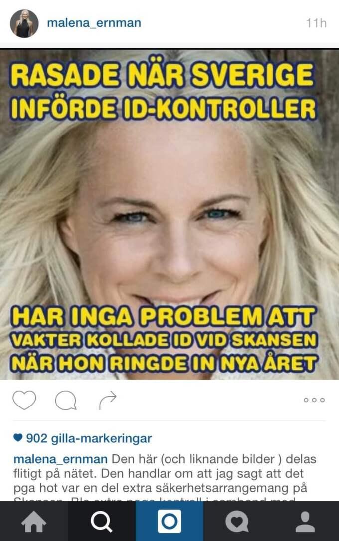Den här bilden har delats på sociala medier, och nu även av Malena Ernman själv. Foto: Instagram