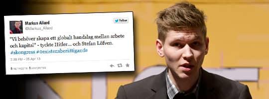 Vänsterpartisten Markus Allard gick ut på Twitter och jämförde Stefan Löfven med Adolf Hitler. Foto: Sven Lindwall