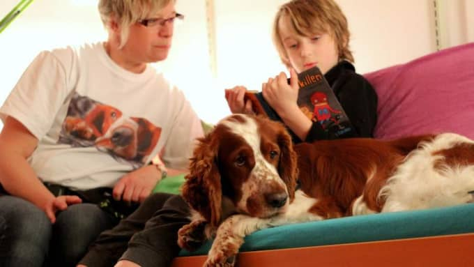SNÄLL VOVVE. Här är det Ludvig som testar att läsa högt för läshunden Cocos i Ulricehamns bibliotek. Matte/hundföraren Agneta Sagebrand lyssnar också. Foto: KAJSA SAGEBRAND