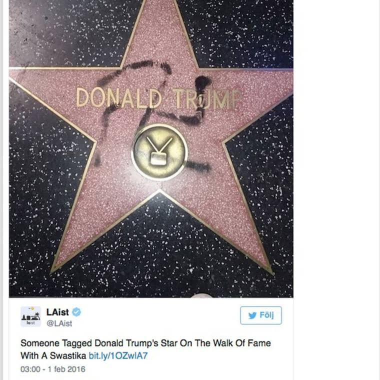 Någon har ritat ett hakkors på Donald Trumps stjärna på Hollywood Walk of Fame Foto: Twitter