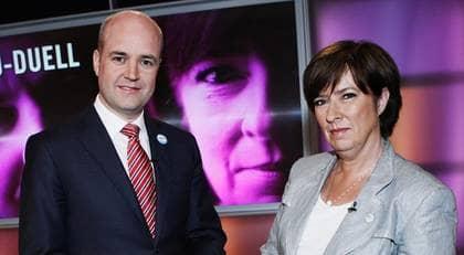 Partiledardebatten i SVT:s Agenda mellan Fredrik Reinfeldt och Mona Sahlin. Foto: CHRISTIAN ÖRNBERG