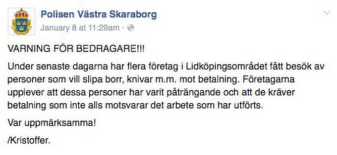 Polisen har gått ut med en varning på Facebook. Foto: Skärmdump