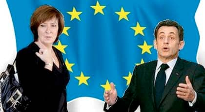 Mona Sahlin och Nicolas Sarkozy är inne på farliga vägar som går stick i stäv med hela idén med EU. Foto: SVEN LINDWALL, REUTERS (Montage)