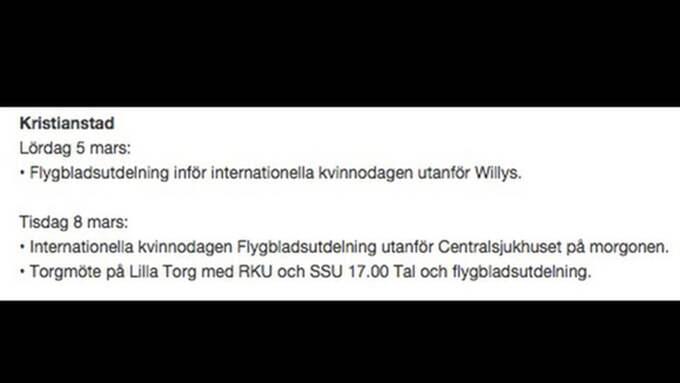 """På RKU:s hemsida marknadsförs det gemensamma mötet som ett """"torgmöte på Lilla Torg med RKU och SSU 17.00. Tal och flygbladsutdelning."""""""