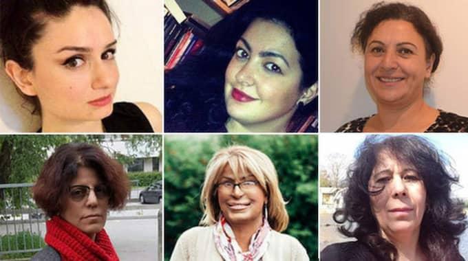 Uppifrån vänster: Nergiz Gumu, Nadin Fakhro, Banni Farkhondeh, Helin Gül, Maria Rashidi och Seve Saleh. Foto: Privat