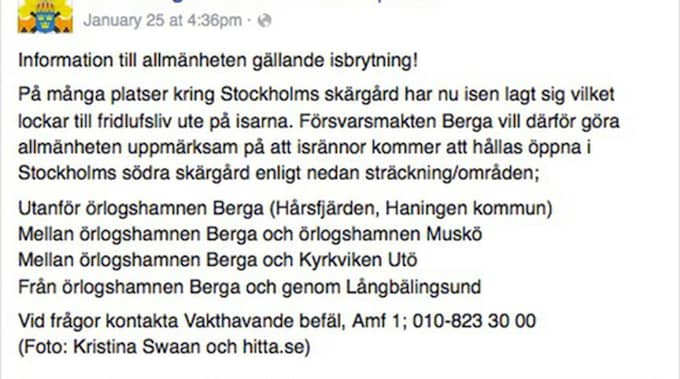 Detta lades ut på Amfibieregementets Facebook, drygt åtta timmar efter att isbrytningen inleddes. Polis och allmänhet larmade redan under förmiddagen. Foto: Skärmdump