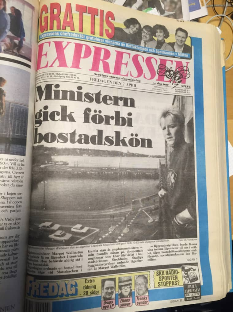 """Redan 1988 hade Expressen """"Ministern gick före i bostadskön"""" på ettan."""