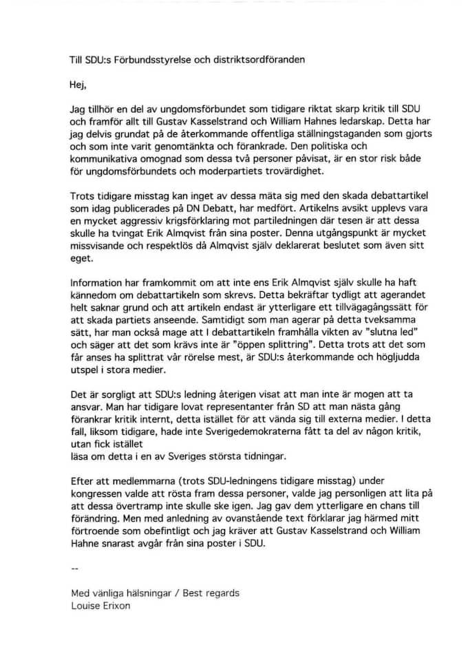 Angrepp. Varken Louise Eriksson eller Jimmie Åkesson lämnar några kommentarer till det skarpt formulerade brev som skickats till SDU:s ledning.