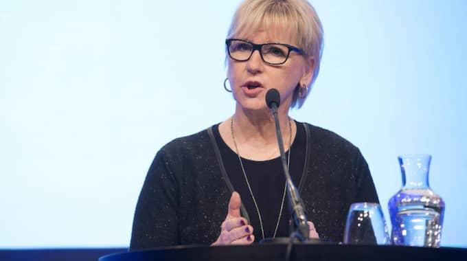 Utrikesminister Margot Wallström imponerade inte på Anna Kinberg Batra under sitt tal igår. Foto: Sven Lindwall