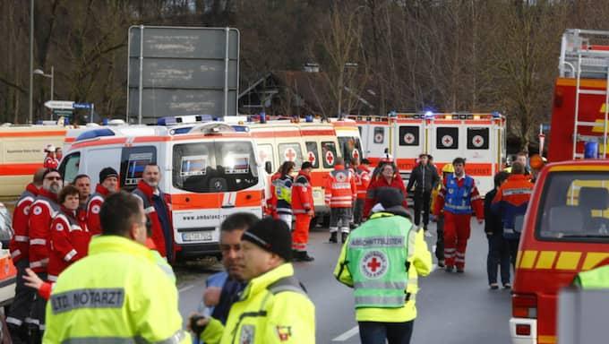 Två tåg har kolliderat i Bad Aibling i södra Tyskland. Foto: Matthias Schrader/TT