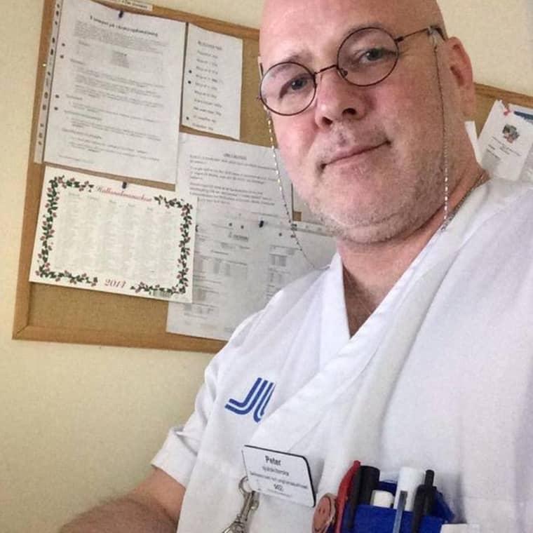 Sjuksköterskan Peter Borovsky, 51, vill frivilligt hjälpa familjen Majunie att ta hand om svårt sjuka Saga. Foto: Privat