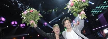 Salem Al Fakir och Ola Svensson gick direkt till Globen-finalen i Melodifestivalens första deltävling. Foto: Christian Örnberg