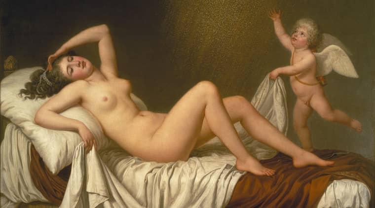 Adolf Ulrik Wertmüller: Danaë och guldregnet (1787). Bilden är beskuren.