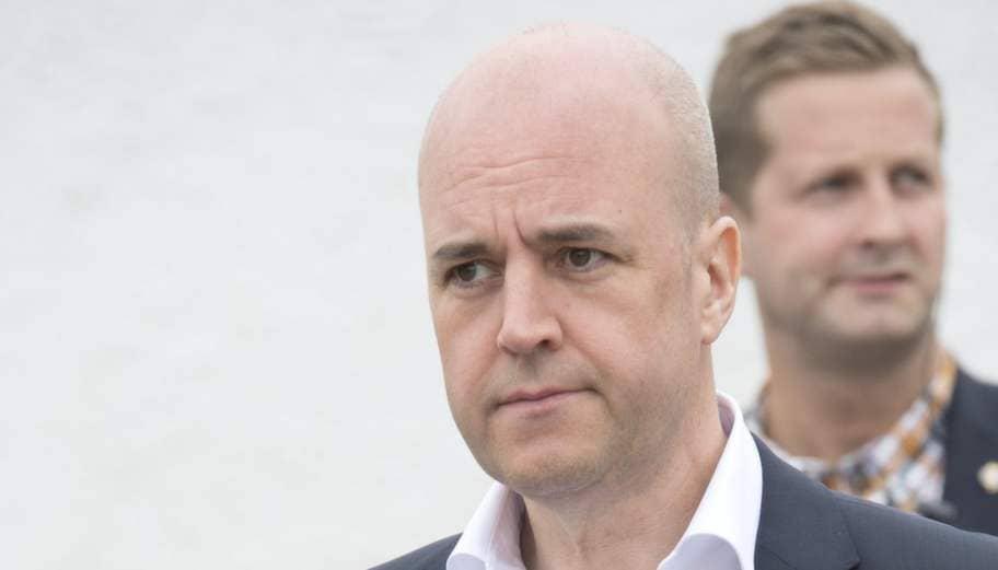 Fredrik Reinfeldt på M:s partihögkvarter. Foto: Sven Lindwall