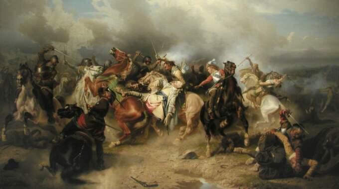 """I GUDS NAMN? Trettioåriga kriget handlade i själva verket om andra konflikter än religion, menar Joel Halldorf. Carl Wahlboms tavla """"Gustav II Adolfs död i slaget vid Lützen"""" (1855) visas här något beskuren."""