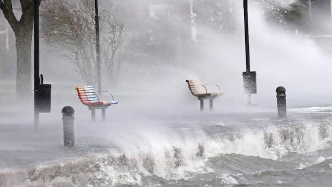 Stormen Helga drog in med full kraft på fredagen. Ingen sitter på parkbänkarna i hamnen i Motala. Foto: Jessica Yngve / Tt