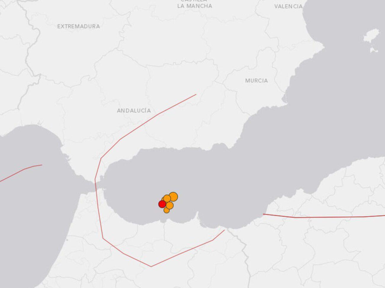 Spanska orten Málaga har drabbats av ett jordskalv. Enligt det amerikanska geologiska institutet USGS uppgår skalvet till magnituden 6,6. Foto: Skärmdump USGC