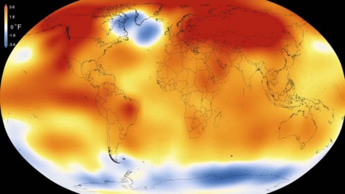 Met Office i Storbritannien samt NOAA och Nasa i USA meddelade samtliga under onsdagen att 2015 var ett rekordår. Foto: Scientific Visualization Studio/Goddard Space Flight Center
