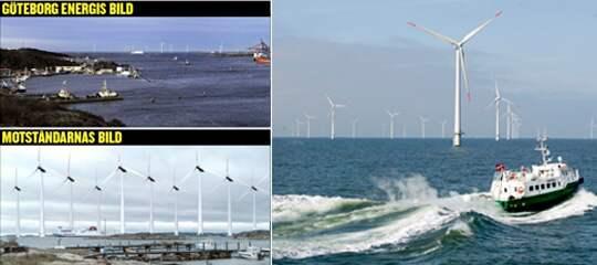 Till höger, vindplats i Göteborg från Älvsborgsbron - enligt ett bildmontage som Göteborg Energi gjort. Under samma plats enligt ett bildmontage som motståndarna till projektet gjort.