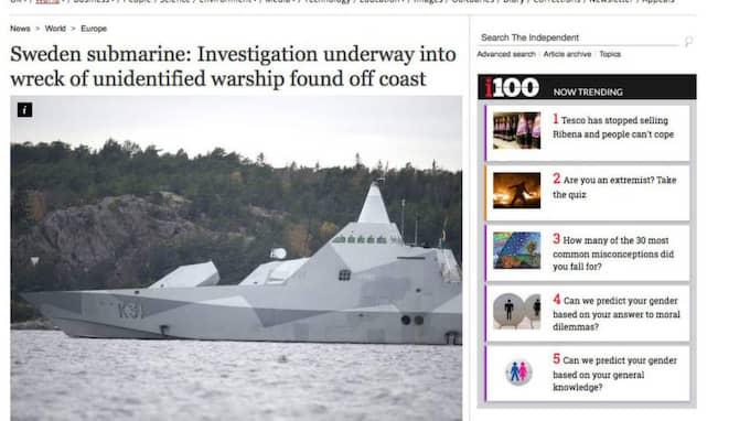 The Independent skriver om att experter spekulerar i om ubåten har sjunkit på senare tid samt är resultatet av ett hemligt uppdrag.