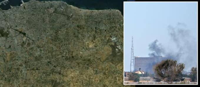 I en anläggning i Tajoura finns radioisotoper, kärnavfall och låganrikat uran, skriver Reuters. Foto: Ap och Google earth