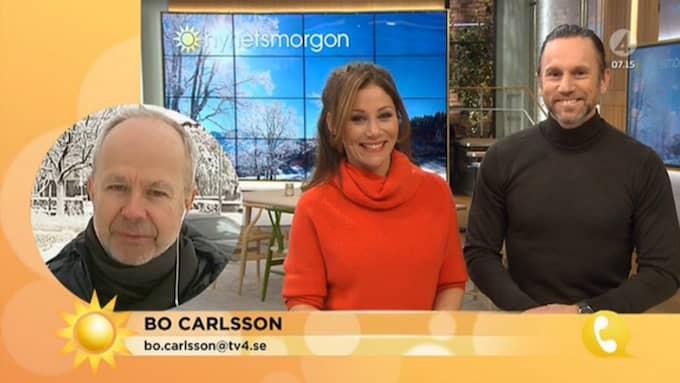 Nyhetsmorgons Tilde de Paula och Peter Jihde skrattade gott åt kollegans tabbe. Foto: TV4