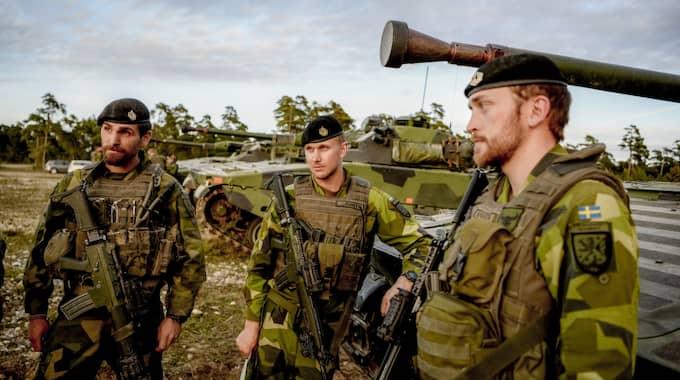 Försvaret i övning på Gotland. Foto: Alex Ljungdahl