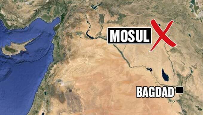 Flickan fritogs i Mosul i Irak. Foto: Google earth