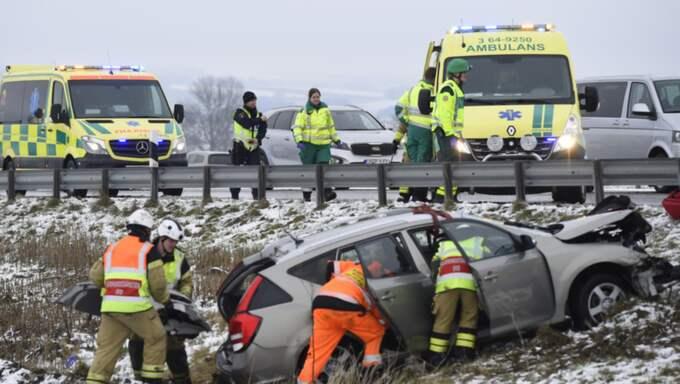 På E22 inträffade också flera olyckor i halkan. Foto: Andreas Holm