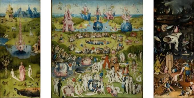 """Triptyken """"Lustarnas trädgård"""" sägs visa Edens lustgård, lustarnas trädgård (enligt vissa en symbol för syndafallet) och helvetet."""