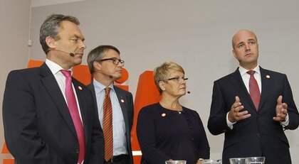 Jan Björklund, Göran Hägglund, Maud Olofsson och Fredrik Reinfeldt. Foto: Sven Lindwall