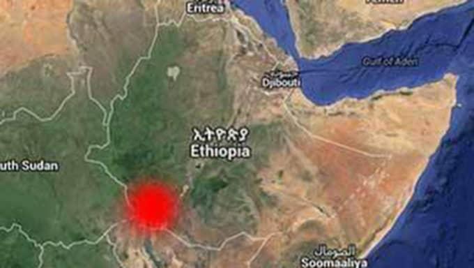 I det här området, Omo valley i södra Etiopien, har fyra svenskar blivit beskjutna.