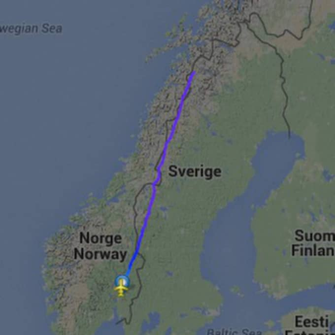 Planet lyfte från Gardemoen i Oslo under torsdagskvällen och hittades senare under natten kraschat i de svenska fjällen. Foto: FLIGHTRADAR24.COM