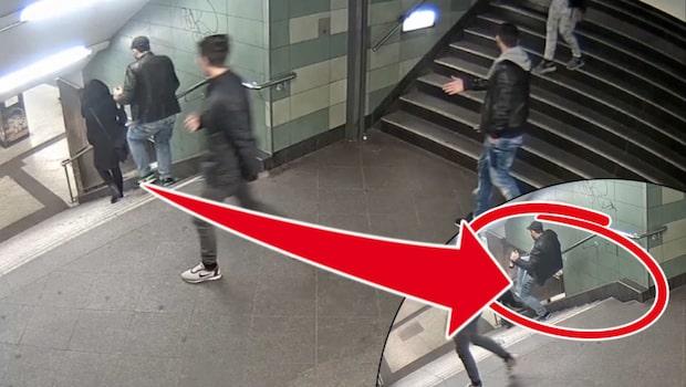 Kvinna sparkad nerför trappa på tunnelbanestation - polisen släpper film