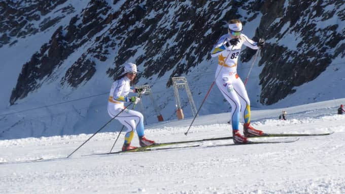 Stina Nilsson och Charlotte Kalla i Val Senales Foto: Tomas Pettersson