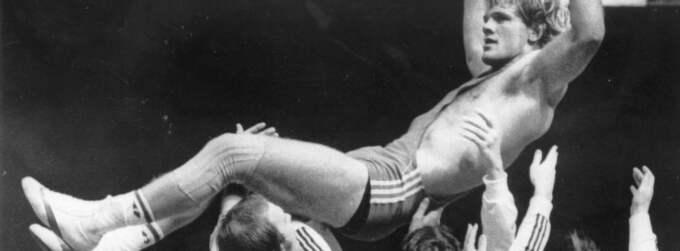 Frank Andersson, en av de stora inom svensk brottning, efter VM-guldet 1977. Foto: Lars Jansson