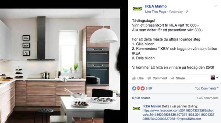 Det må se ut som Ikea, och tusentals svenskar har blivit lurade – men nej, det är bluff. Anmäl sidan till Facebook. Eller kontakta Ikea om du är osäker. Foto: Skärmdump