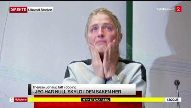 """Therese Johaug i tårar på presskonferensen: """"Förtvivlad och förbannad"""""""